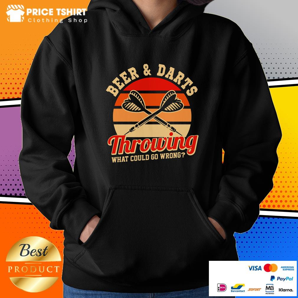 Beer And Darts Throwing What Could Go Wrong Vintage Retro Hoodie