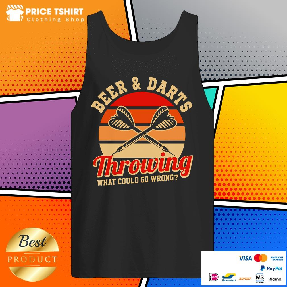 Beer And Darts Throwing What Could Go Wrong Vintage Retro Tank Top
