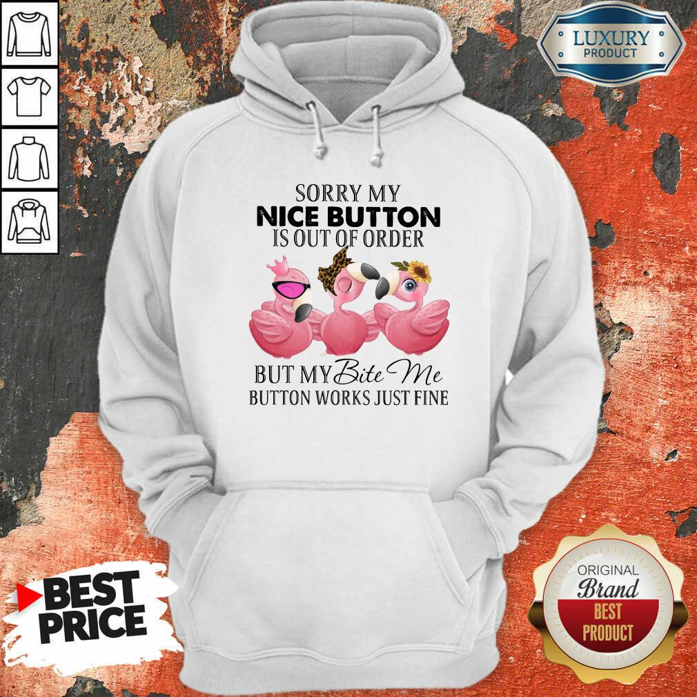 Flamingo My Nice Button Is Out Of Order But My Bite Me Button Works Fine Hoodie