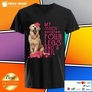 Golden Retriever Dog My Shadow Has 4 Legs And A Tail V-neck