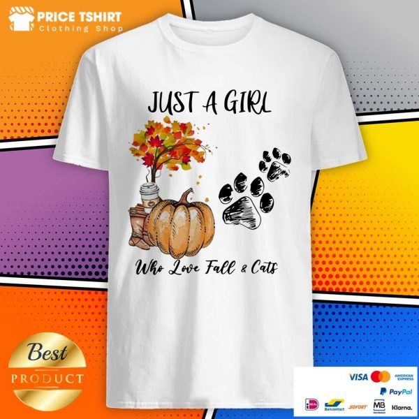 Just A Girl Who Love Fall And Cats Halloween Shirt