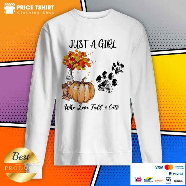 Just A Girl Who Love Fall And Cats Halloween Sweatshirt