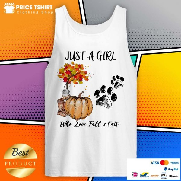 Just A Girl Who Love Fall And Cats Halloween Tank Top