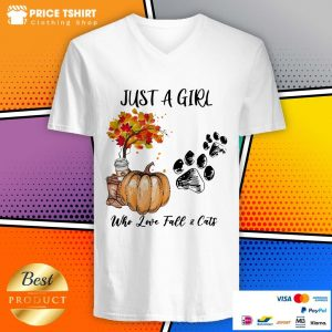 Just A Girl Who Love Fall And Cats Halloween V-neck