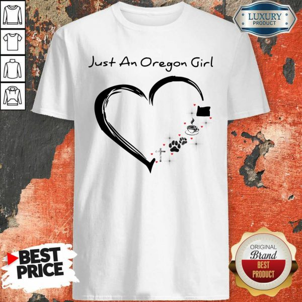 Just A Oregon Girl Coffee Paws Jesus Heart Shirt