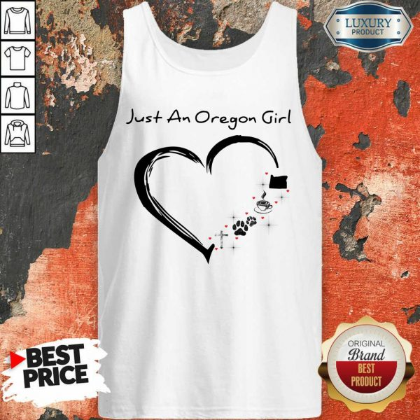 Just A Oregon Girl Coffee Paws Jesus Heart Tank Top