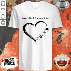 Just A Oregon Girl Coffee Paws Jesus Heart V-neck