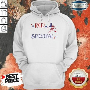 Red And Pickleball American Flag Hoodie
