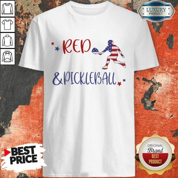 Red And Pickleball American Flag Shirt