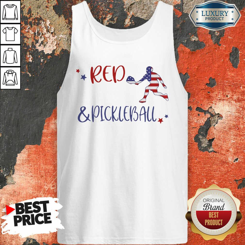 Red And Pickleball American Flag Tank Top