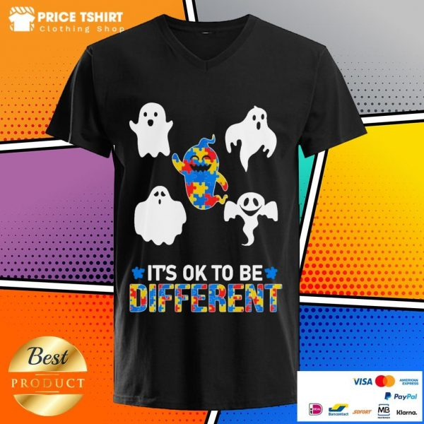Autism Ghost It Is Ok To Be Different V-neck