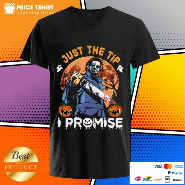 Awful Man Just The Tip I Promise Pumpkin Blood Moon Halloween V-neck