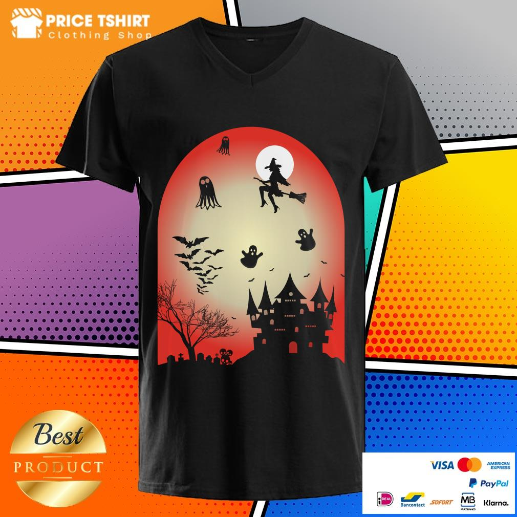Boo Witch Ghost Bat Halloween V-neck