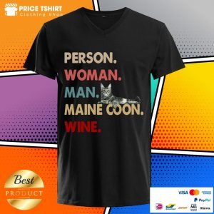 Cat Person Woman Man Maine Coon Wine V-neck