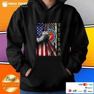 Department Of The Navy United States Marines Corps Behind USA Flag Veteran Hoodie