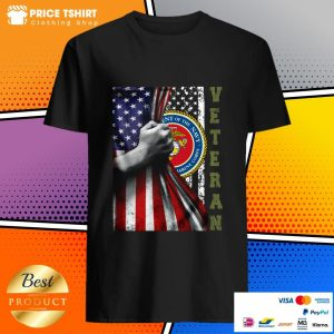 Department Of The Navy United States Marines Corps Behind USA Flag Veteran Shirt