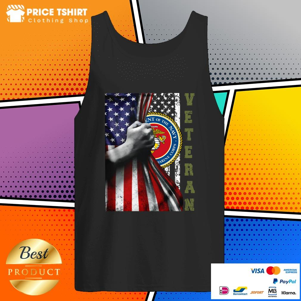 Department Of The Navy United States Marines Corps Behind USA Flag Veteran Tank Top