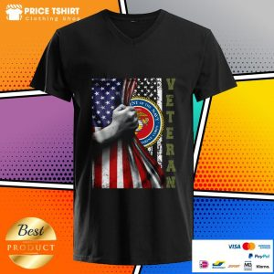 Department Of The Navy United States Marines Corps Behind USA Flag Veteran V-neck