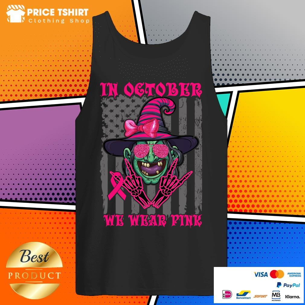 In October We Wear Pink Witch American Flag Halloween Tank Top