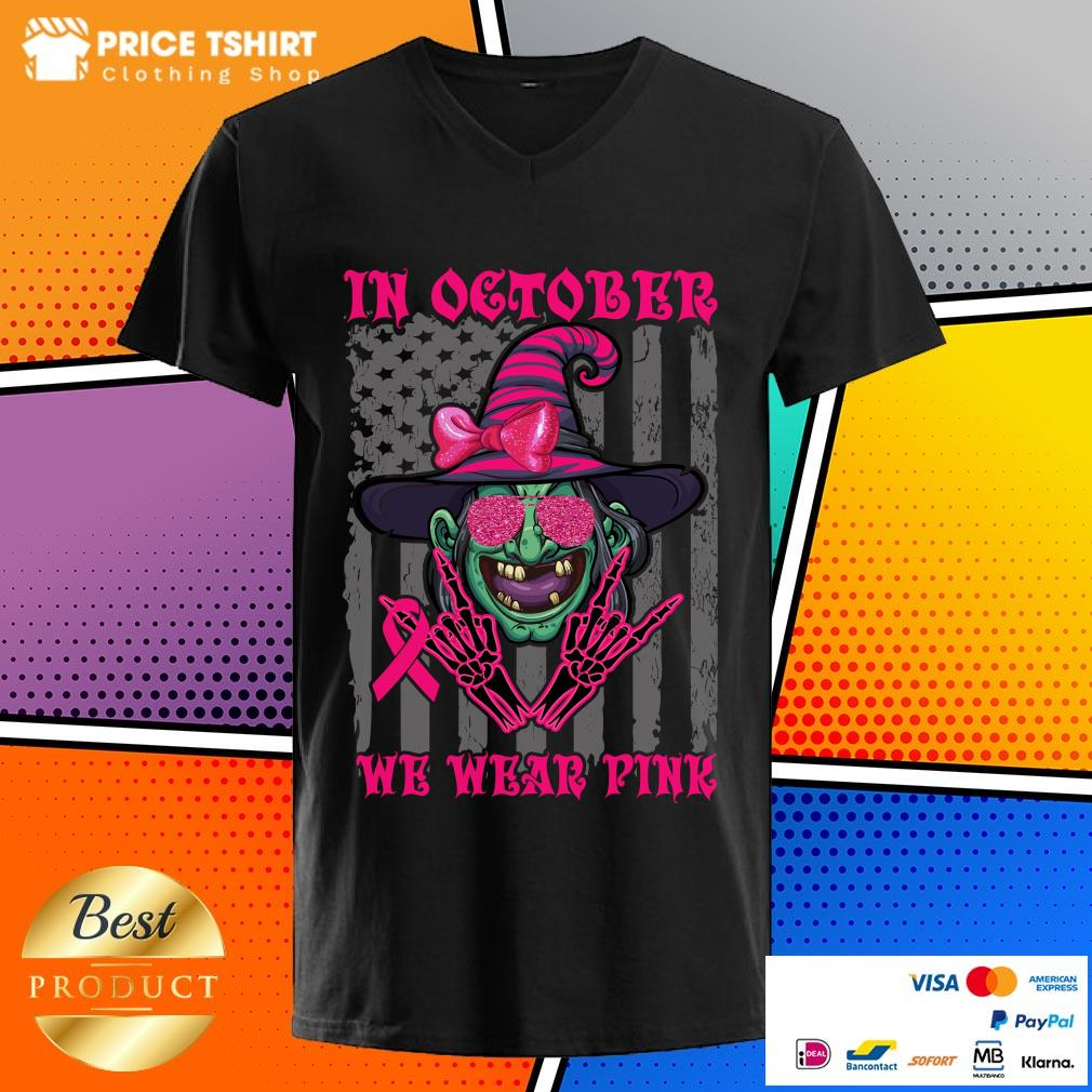 In October We Wear Pink Witch American Flag Halloween V-neck