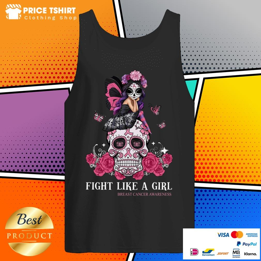 Skull Fight Like A Girl Breast Cancer Awareness Tank Top