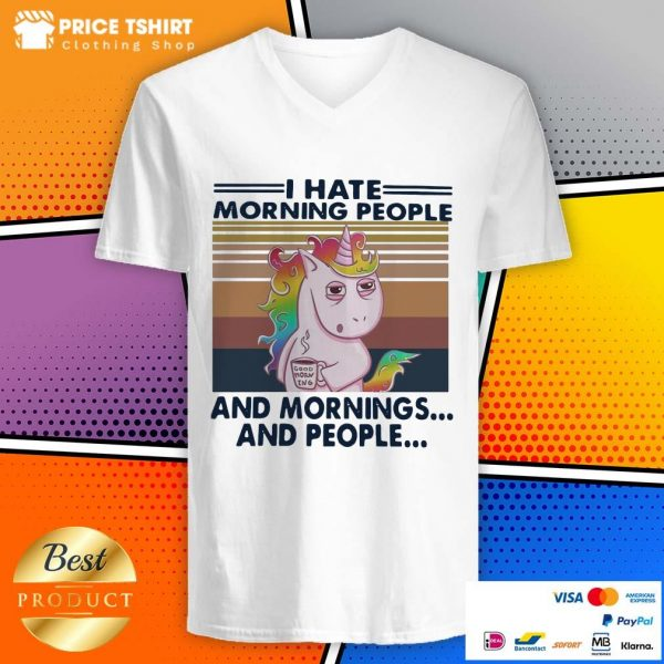 Unicorn I Hate Morning People And Mornings And People Vintage V-neck