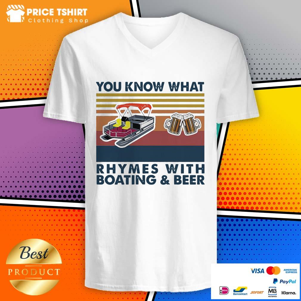 You Know What Rhymes With Boating And Beer Vintage Retro V-neck