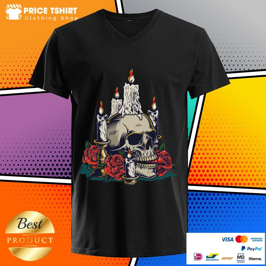 Day Of The Dead With Roses Vintage Skull V-neck