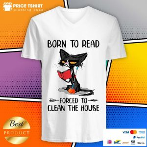 Grumpy Cat Born To Read Forced To Clean The House V-neck