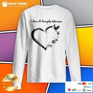 I Am A Simple Woman Chicken Wine Paws And Flip Flop Heart Sweatshirt