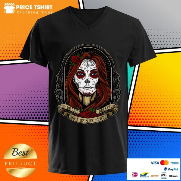 Mexican Lady With Rose Dia De Los Muertos Day Of The Dead V-neck