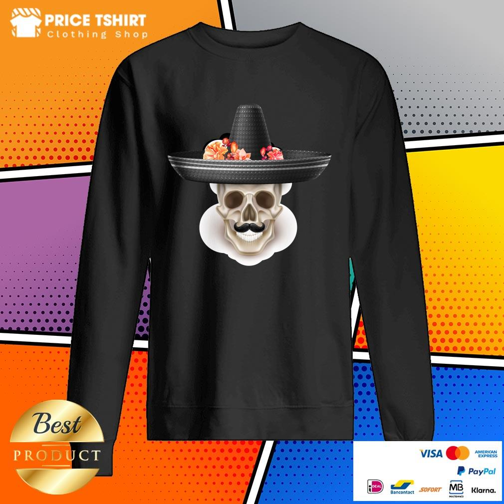 Mexican Man Skull Day Of The Dead Hibiscus Flower Hat Sweatshirt
