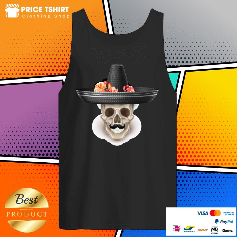 Mexican Man Skull Day Of The Dead Hibiscus Flower Hat Tank Top