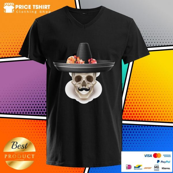 Mexican Man Skull Day Of The Dead Hibiscus Flower Hat V-neck